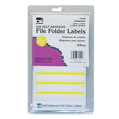 Charles Leonard File Folder Labels, Yellow, 6 packs of 248 (CHL45240)