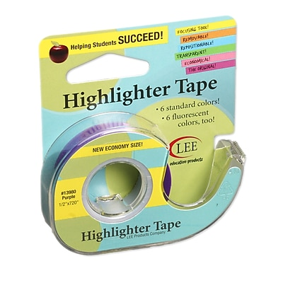 Lee Products Removable Highlighter Tape, 3
