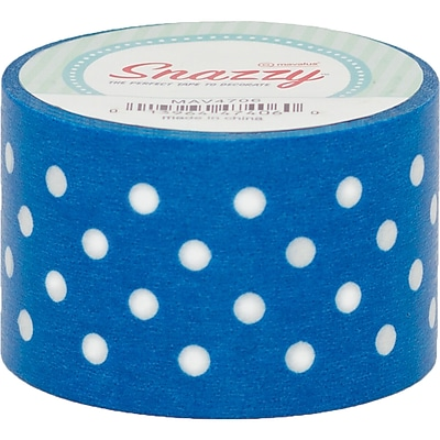 DSS Distributive Snazzy Tape, White Polka Dot on Blue, 1.5