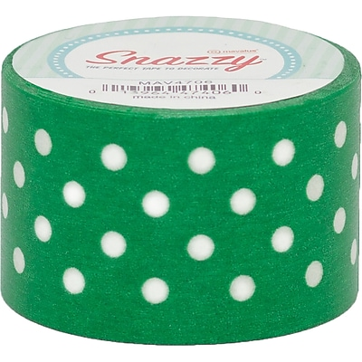 DSS Distributive Snazzy Tape, White Polka Dot on Green, 1.5
