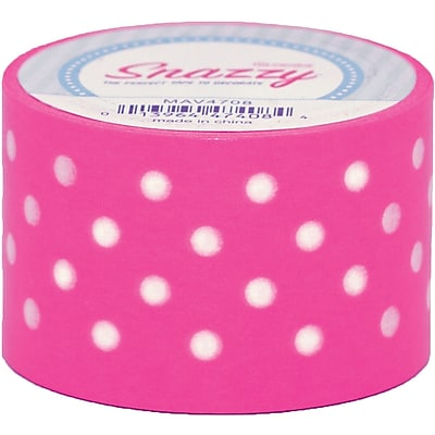 DSS Distributing Snazzy Tape, White Polka Dot on Yellow, 1.5