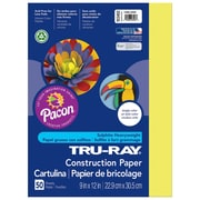 "Pacon Corporation Tru-Ray® Fade-Resistant Construction Paper, 9"" x 12"", Lively Lemon (PAC103402)"