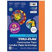 """Pacon Corporation Tru-Ray® Fade-Resistant Construction Paper, 9"""" x 12"""", Electric Orange  (PAC103404)"""