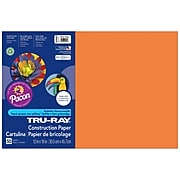 """Pacon Corporation Tru-Ray® Fade-Resistant Construction Paper, 12"""" x 18"""", Electric Orange  (PAC103405)"""