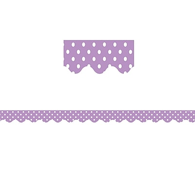 Teacher Created Resources Orchid Polka Dots Scalloped Border Trim (36 x 2.75)