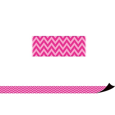 Teacher Created Resources Chevron Magnetic Borders, Hot Pink, 12/Pack (TCR77126)