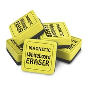 "The Pencil Grip Magnetic Whiteboard Eraser, 2"" x 2"", Yellow, 2 packs of 12 (TPG355)"