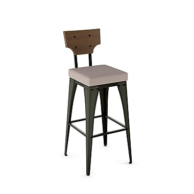 Amisco (40661-26WE/1B51DDF487) Rally Metal Counter Stool with Distressed Wood Backrest, Gun Metal Finish/Warm Grey/Medium Brown
