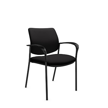 Global® (6900 IM84) Sidero Guest & Reception Chair, Imprint Licorice Fabric, Black
