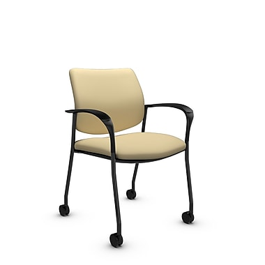 Global® (6900C IM70) Sidero with Casters Guest & Reception Chair, Imprint Almond Fabric, Tan