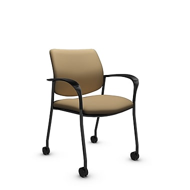 Global® (6900C IM71) Sidero with Casters Guest & Reception Chair, Imprint Cork Fabric, Tan