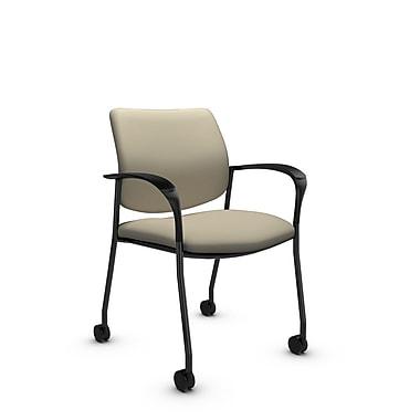 GlobalMD – Chaise d'invité et de réception avec roulettes Caprice (3365C-IM72), tissu imprimé sable, havane