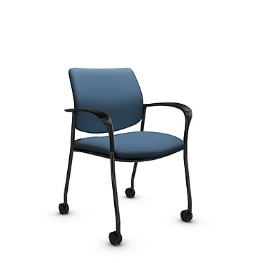 Global® (6900C IM75) Sidero with Casters Guest & Reception Chair, Imprint Ocean Fabric, Blue