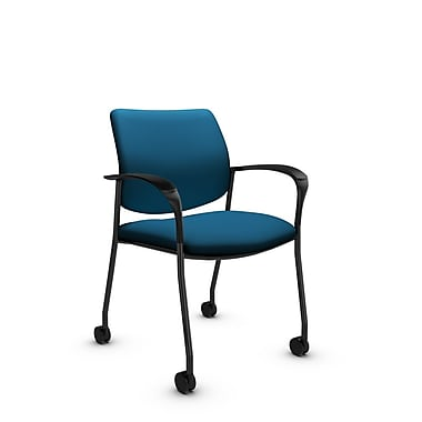 Global® (6900C IM76) Sidero with Casters Guest & Reception Chair, Imprint Navy Fabric, Blue