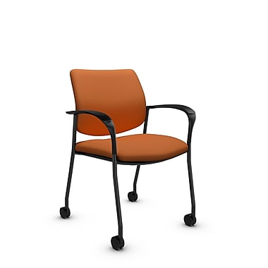 Global® (6900C IM81) Sidero with Casters Guest & Reception Chair, Imprint Paprika Fabric, Orange