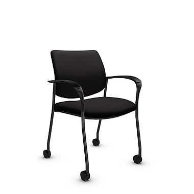 Global® (6900C IM84) Sidero with Casters Guest & Reception Chair, Imprint Licorice Fabric, Black