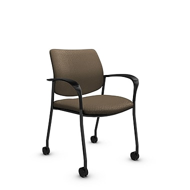 Global® (6900C MT21) Sidero with Casters Guest & Reception Chair, Match Sand Fabric, Brown