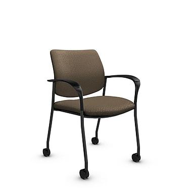 GlobalMD – Chaise d'invité et de réception avec roulettes Sidero (6900C MT21), tissu Match sable, brun