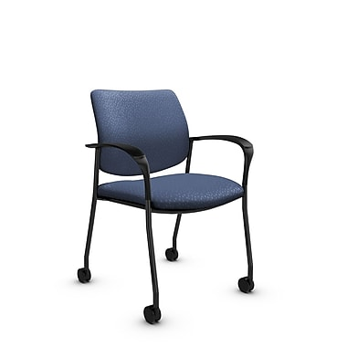 Global® (6900C MT25) Sidero with Casters Guest & Reception Chair, Match Blue Fabric, Blue