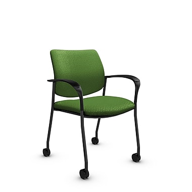 Global® (6900C MT27) Sidero with Casters Guest & Reception Chair, Match Green Fabric, Green