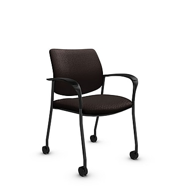 Global® (6900C MT28) Sidero with Casters Guest & Reception Chair, Match Chocolate Fabric, Brown