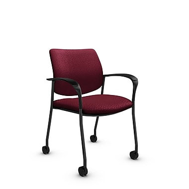 Global® (6900C MT29) Sidero with Casters Guest & Reception Chair, Match Burgundy Fabric, Red