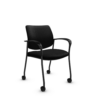 Global® (6900C MT32) Sidero with Casters Guest & Reception Chair, Match Black Fabric, Black