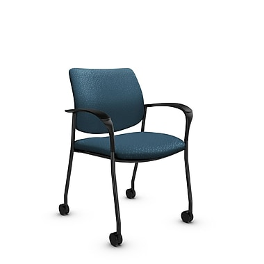 Global® (6900C MT33) Sidero with Casters Guest & Reception Chair, Match Arctic Fabric, Blue