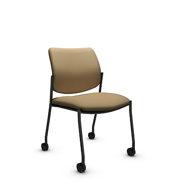 Global® (6901C IM71) Sidero Armless with Casters Guest & Reception Chair, Imprint Cork Fabric, Tan