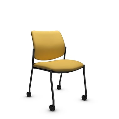 Global® (6901C IM73) Sidero Armless with Casters Guest & Reception Chair, Imprint Currie Fabric, Yellow
