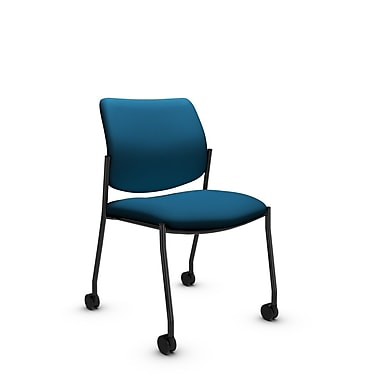 Global® (6901C IM76) Sidero Armless with Casters Guest & Reception Chair, Imprint Navy Fabric, Blue