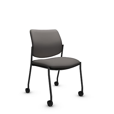 Global® (6901C IM82) Sidero Armless with Casters Guest & Reception Chair, Imprint Graphite Fabric, Grey