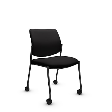 Global® (6901C IM84) Sidero Armless with Casters Guest & Reception Chair, Imprint Licorice Fabric, Black