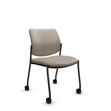 Global® (6901C MT20) Sidero Armless with Casters Guest & Reception Chair, Match Desert Fabric, Tan