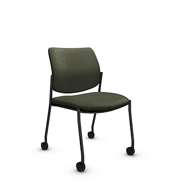Global® (6901C MT22) Sidero Armless with Casters Guest & Reception Chair, Match Moss Fabric, Green