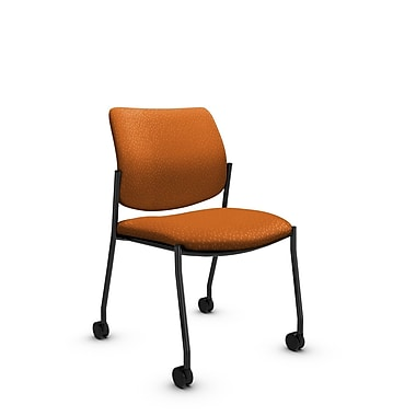 Global® (6901C MT23) Sidero Armless with Casters Guest & Reception Chair, Match Orange Fabric, Orange
