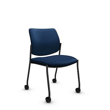 GlobalMD – Fauteuil d'invité et de réception à roulettes sans accoudoirs Sidero (6901C MT26), tissu Match vague, bleu