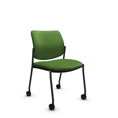 GlobalMD – Chaise d'invité et de réception sans accoudoirs avec roulettes Sidero (6901C MT27), tissu assorti vert, vert