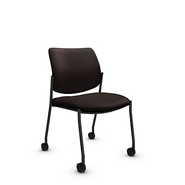 Global® (6901C MT28) Sidero Armless with Casters Guest & Reception Chair, Match Chocolate Fabric, Brown