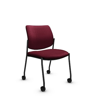 Global (6901C MT29) Sidero Armless with Casters Guest & Reception Chair, Match Burgundy Fabric, Red