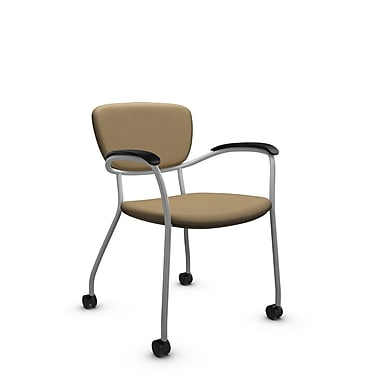 Global® (3365C IM71) Caprice with Casters Guest & Reception Chair, Imprint Cork Fabric, Tan