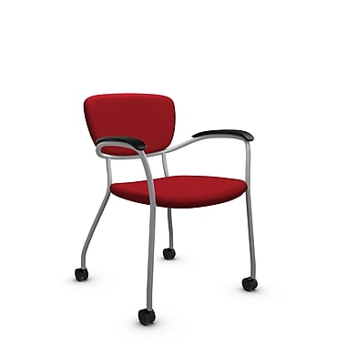Global® (3365C IM74) Caprice with Casters Guest & Reception Chair, Imprint Candy Apple Fabric, Red