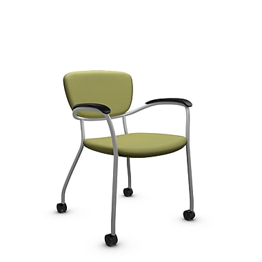 Global® (3365C IM78) Caprice with Casters Guest & Reception Chair, Imprint Celery Fabric, Green