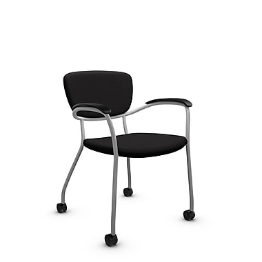 Global® (3365C IM84) Caprice with Casters Guest & Reception Chair, Imprint Licorice Fabric, Black