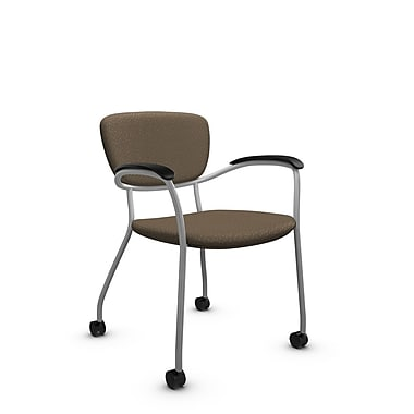 Global® (3365C MT21) Caprice with Casters Guest & Reception Chair, Match Sand Fabric, Brown