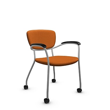 Global® (3365C MT23) Caprice with Casters Guest & Reception Chair, Match Orange Fabric, Orange