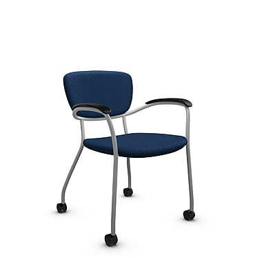Global® (3365C MT26) Caprice with Casters Guest & Reception Chair, Match Wave Fabric, Blue