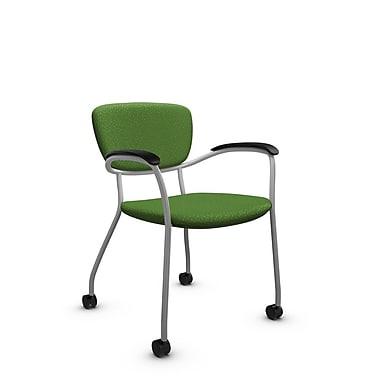 GlobalMD – Fauteuil d'invité et de réception à roulettes Caprice (3365C MT27), tissu assorti vert, vert