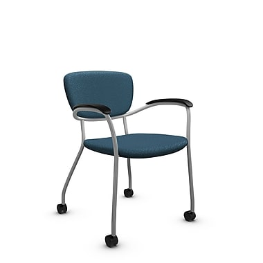 Global® (3365C MT33) Caprice with Casters Guest & Reception Chair, Match Arctic Fabric, Blue
