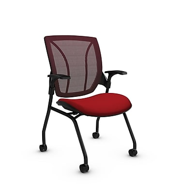 Global® (1899 IM74 FB) Roma Mesh Guest & Reception Chair, Imprint Candy Apple Fabric, Red w/ Red Mesh